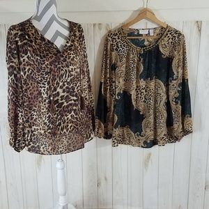 Lot of 2 - Chico's Animal Pring Blouses - 2 (M/L)